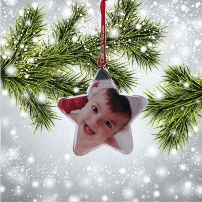 kerstbal kerstster met foto