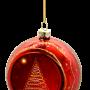 kerstbal rood met glitter