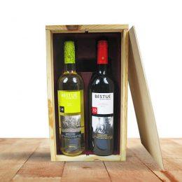houten wijnkist 2vaks bedrukt
