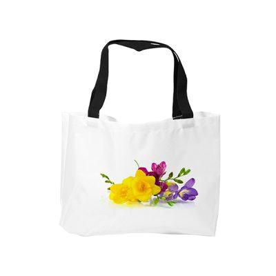 Strandtas met bedrukking - bloemen | Hoezzi