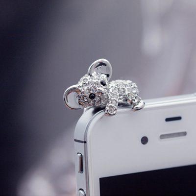 telefoon sieraad koala zilver